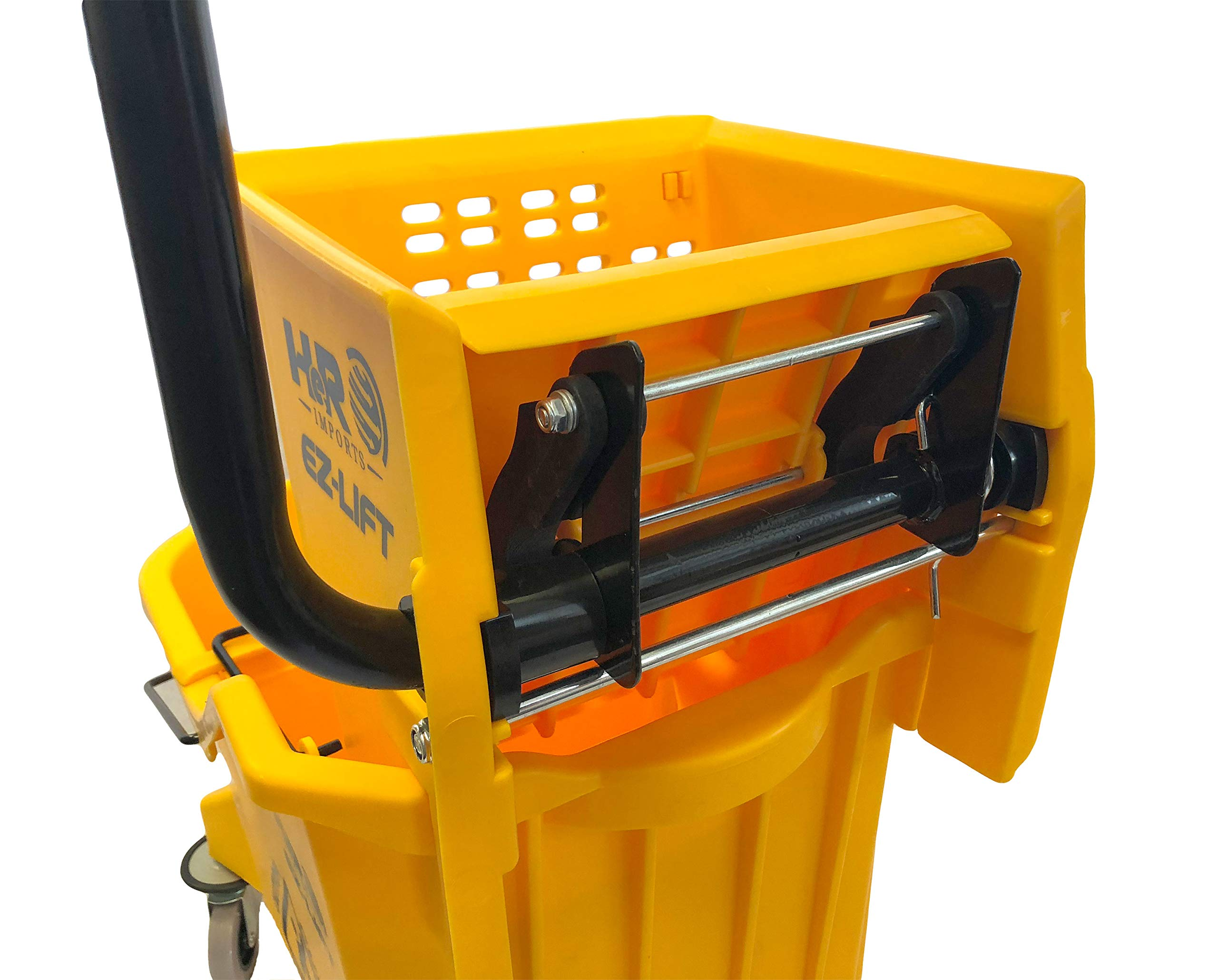 Hero EZ-LIFT Dual Cavity Commercial Mop Bucket with Wringer on Wheels, includes Dirty Water Bucket (36-Quart   9 Gallon Cleaning Bucket) by HERO IMPORTS (Image #5)