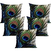 Czar Home Velvet 3D Digital Print Peacock Cushion Cover(16x16-inches, Multicolour) - Set of 5