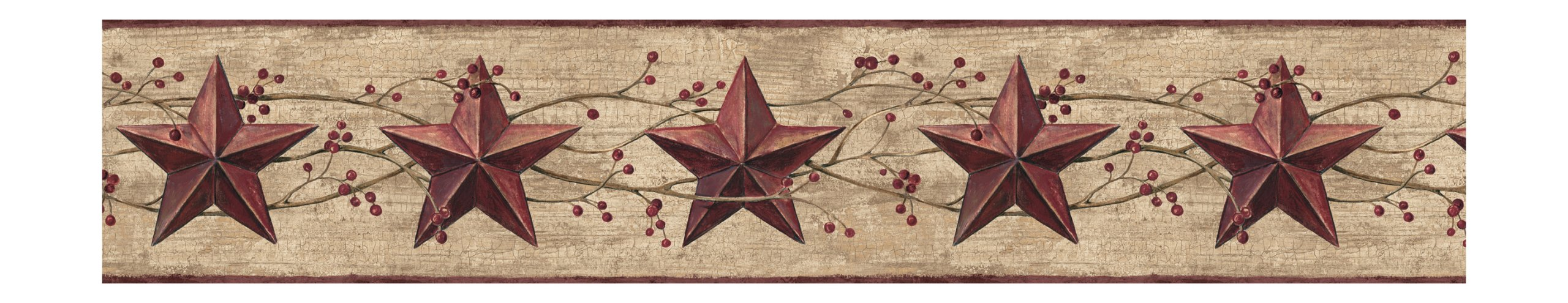York Wallcoverings Best Of Country JL1094B Star Berry Border, Khaki/Burgundy by York Wallcoverings