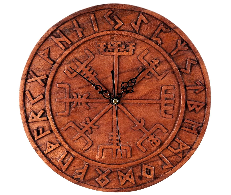 Windalf Asatru Wanduhr VEGVESIR Ø 30 cm Viking Runen Runen Runen Wand Uhr Handarbeit aus Holz ed9586