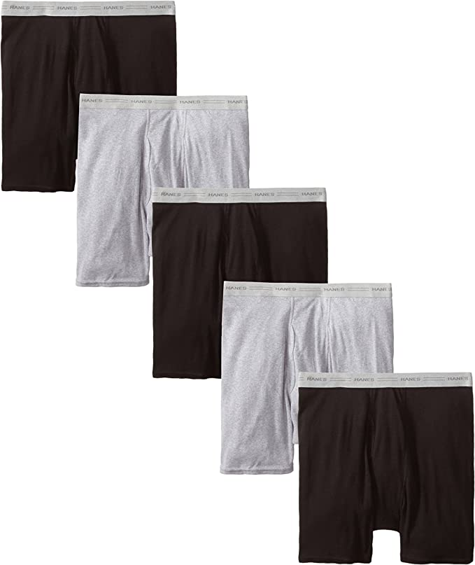 TALLA S. Hanes Mens Boxer Briefs with Comfort Flex Waistband 5-Pack (2349Z5)