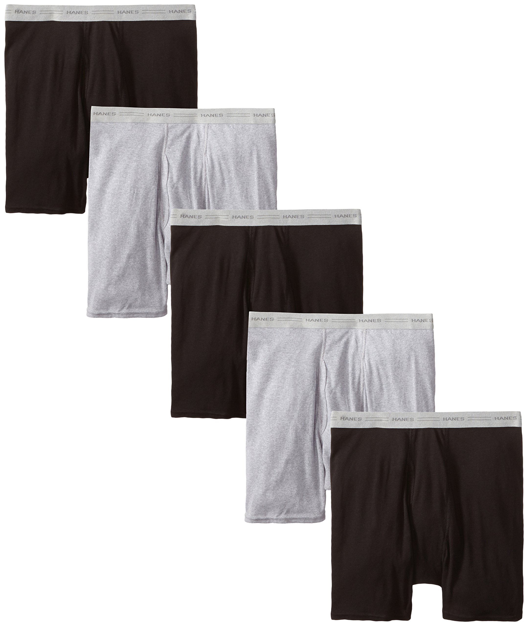 Hanes Men's 5-Pack Boxer with ComfortFlex Waistband Brief, Black/Grey, Medium