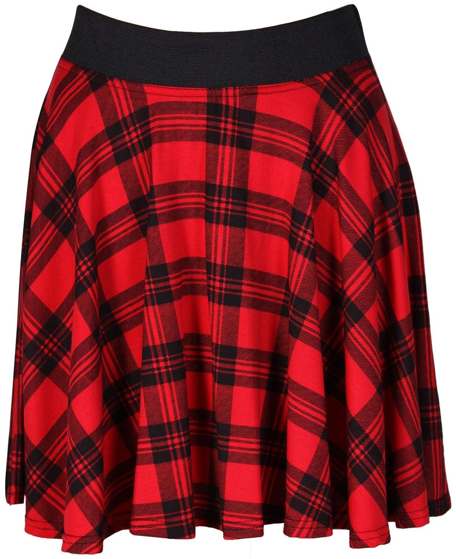 Ladies Girls Christmas Scottish Tartan Check Pleated  Back Elastic Skirt 9 Inch