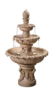 """Kenroy Home 51010SNDST Ibiza Outdoor Tiered Fountain with Lights, 45"""" H Sandstone Finish"""