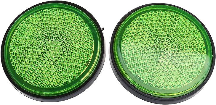 Shiwaki 2 Pack 2 inch 55mm Round Reflector for Motorcycle ATV Dirt Bikes Universal Green