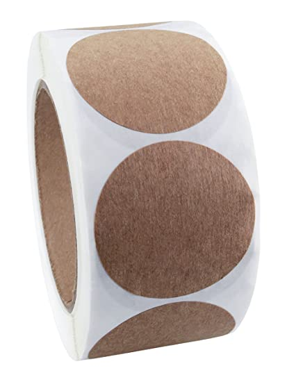 2 brown kraft paper dot labels 500 round stickers per roll permanent adhesive