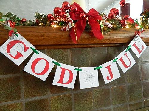 Swedish Christmas Ornament.God Jul Banner Norwegian Holiday Decoration Happy Christmas Nordic Decor Swedish Christmas Banner Scandanavain Christmas Decor
