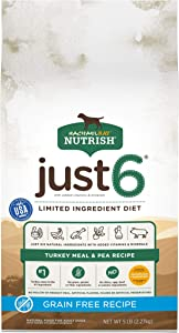Rachael Ray Nutrish Just 6 Premium Natural Dry Dog Food, Limited Ingredient Diet Turkey Meal & Pea Recipe, 5 Pounds, Grain Free