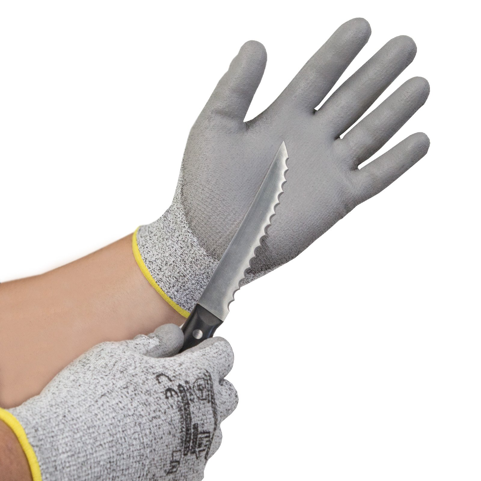 JORESTECH Palm Dipped Polyurethane Coated Seamless Knit Work Gloves PPE Hand Protection Blade Cut Resistance Level 5 (Extra Large) Pack of 12 by JORESTECH  (Image #4)