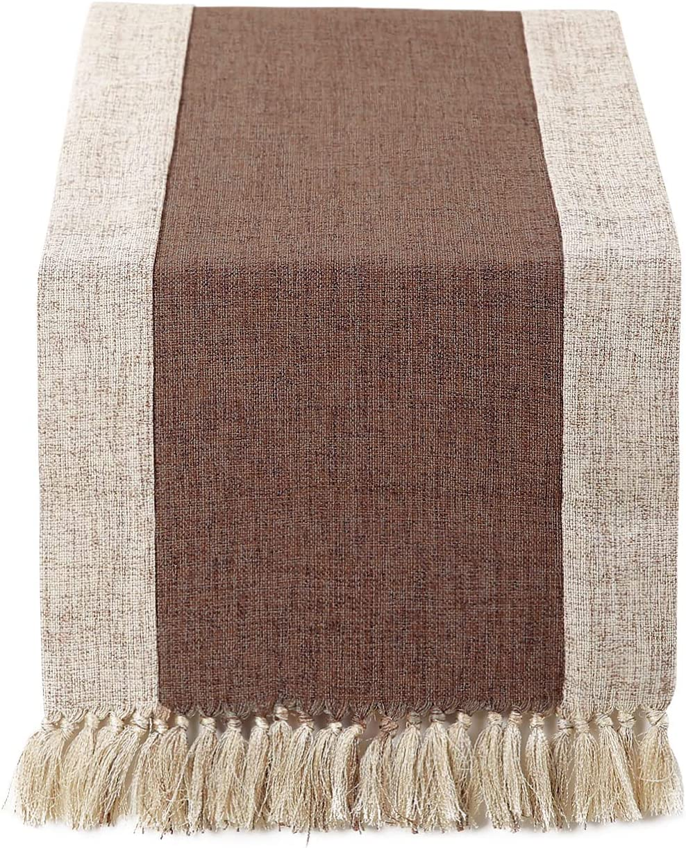 Chassic 15 x 72 inch Rustic Burlap Woven Boho Table Runners Linen with Handmade Fringe, Village Farmhouse Dining Room Dresser Decor - Brown