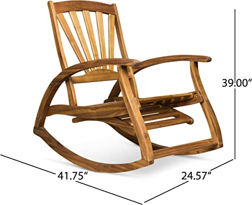 Christopher Knight Home 305227 Alva Outdoor Acacia Wood Rocking Chair with Footrest, Teak Finish