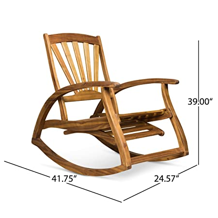 Great Deal Furniture 305227 Alva Outdoor Acacia Wood Rocking Chair with Footrest, Teak Finish