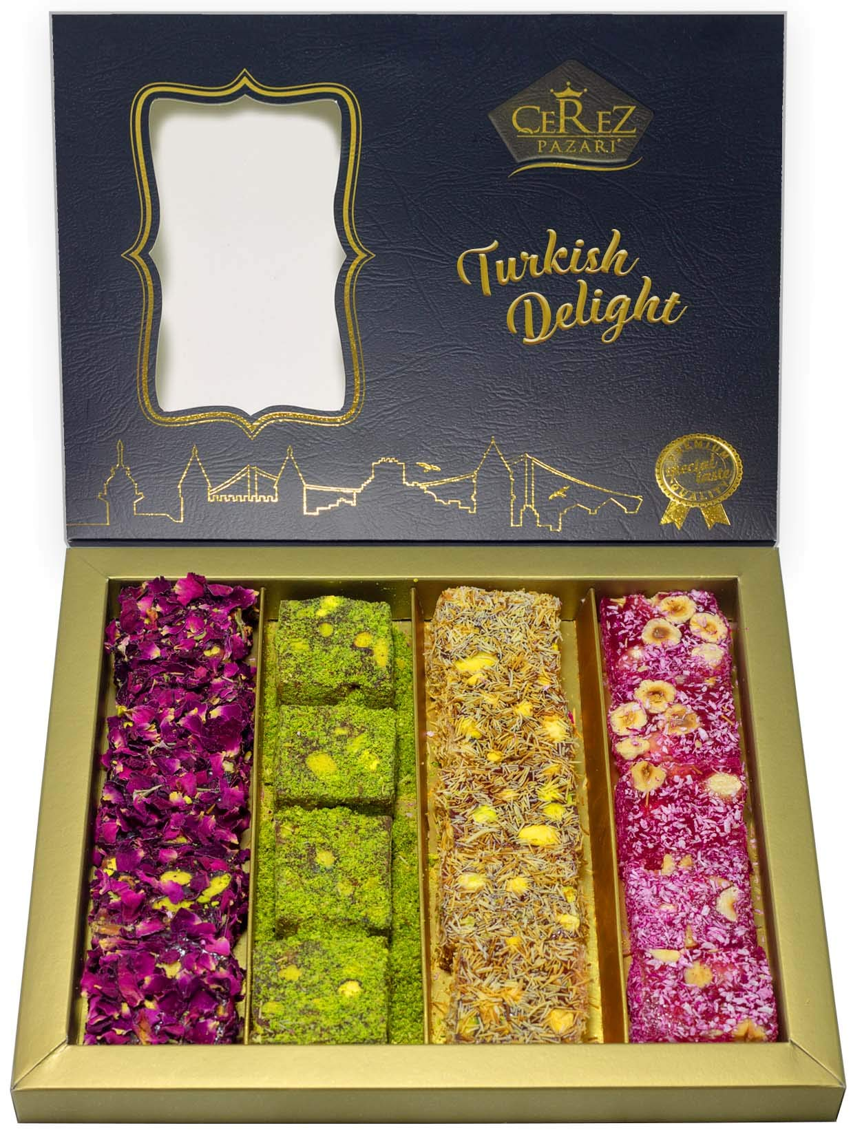 Turkish Delight Luxury Assorted %100 Hand Made Gourmet Gift Box Fantastic Rose & Pomegranate Flavor Experience With Pistachio (16-22 Pcs) 17 oz