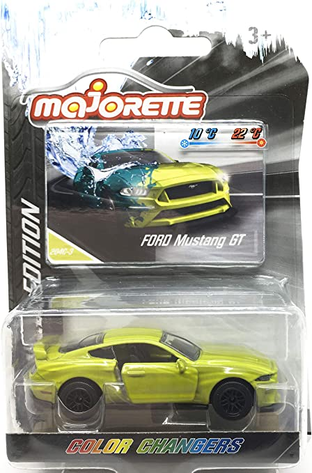 Ford Mustang GT Lime Green - Color Changer - 1/64 Scale Diecast Car - Scale 1:64 / 3 inches Car - MJ Ref 204C- Wheels D6CS Black - in Package with Card Style