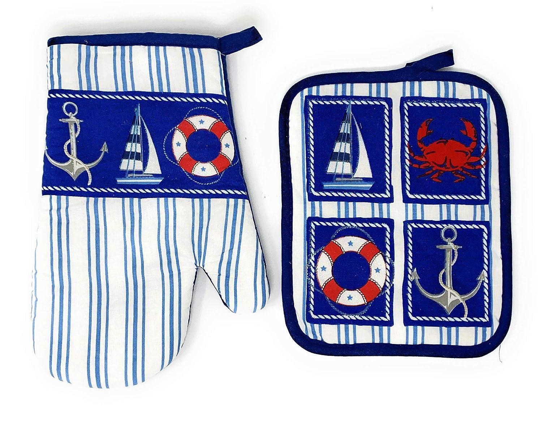 Coastal Living Seascapes Cotton Oven Mitt and Potholder Set, Set of 2 (Blue Sailboat Crab Anchor Life Preserver)