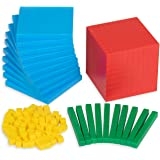 Edx Education Four Color Plastic Base Ten Set - in Home Learning Manipulative for Early Math - Set of 121 - Teach Kids…