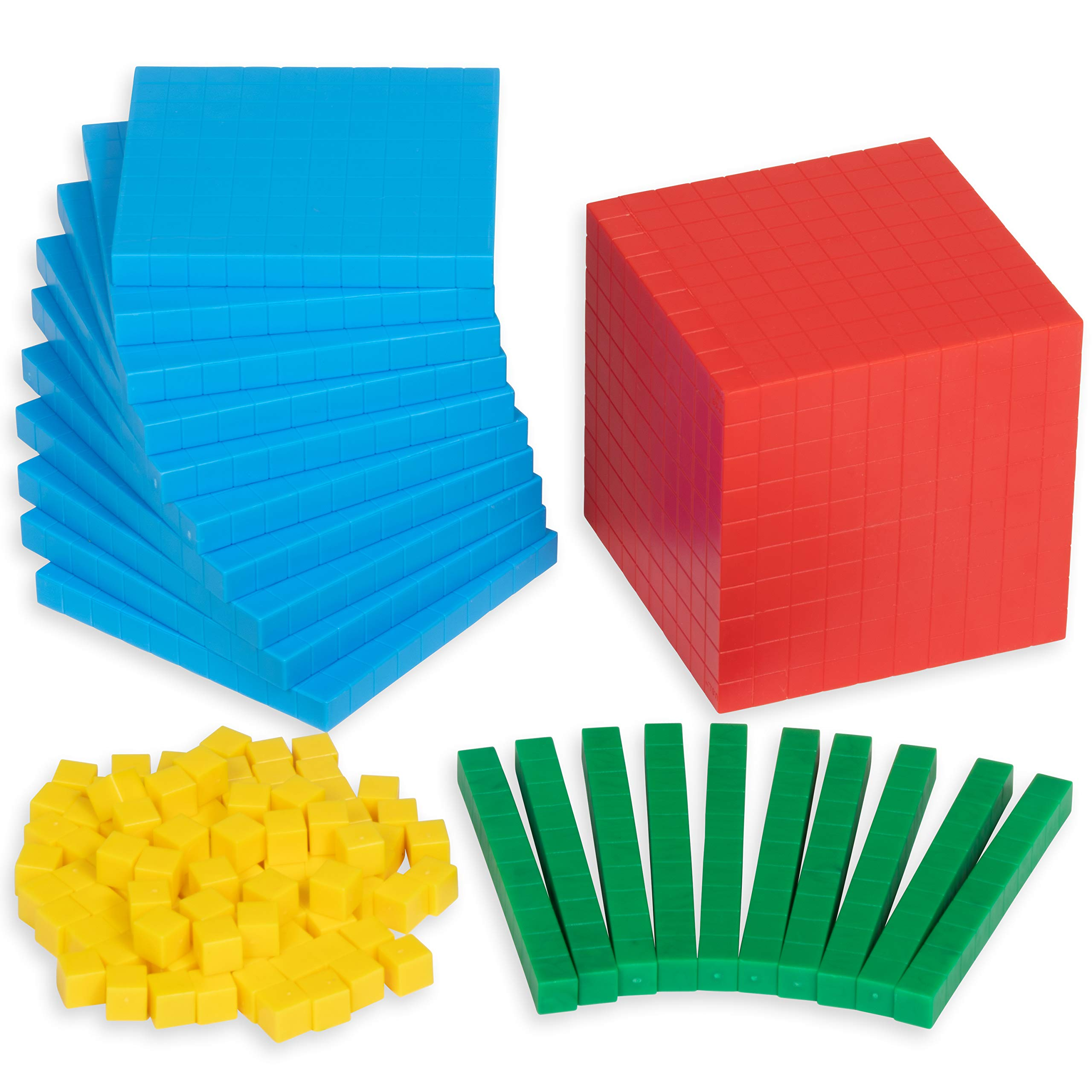Edx Education Four Color Plastic Base Ten Set - Set of 121 - in Home Learning Manipulative for Early Math - Teach Kids Number Concepts, Place Value and Volume