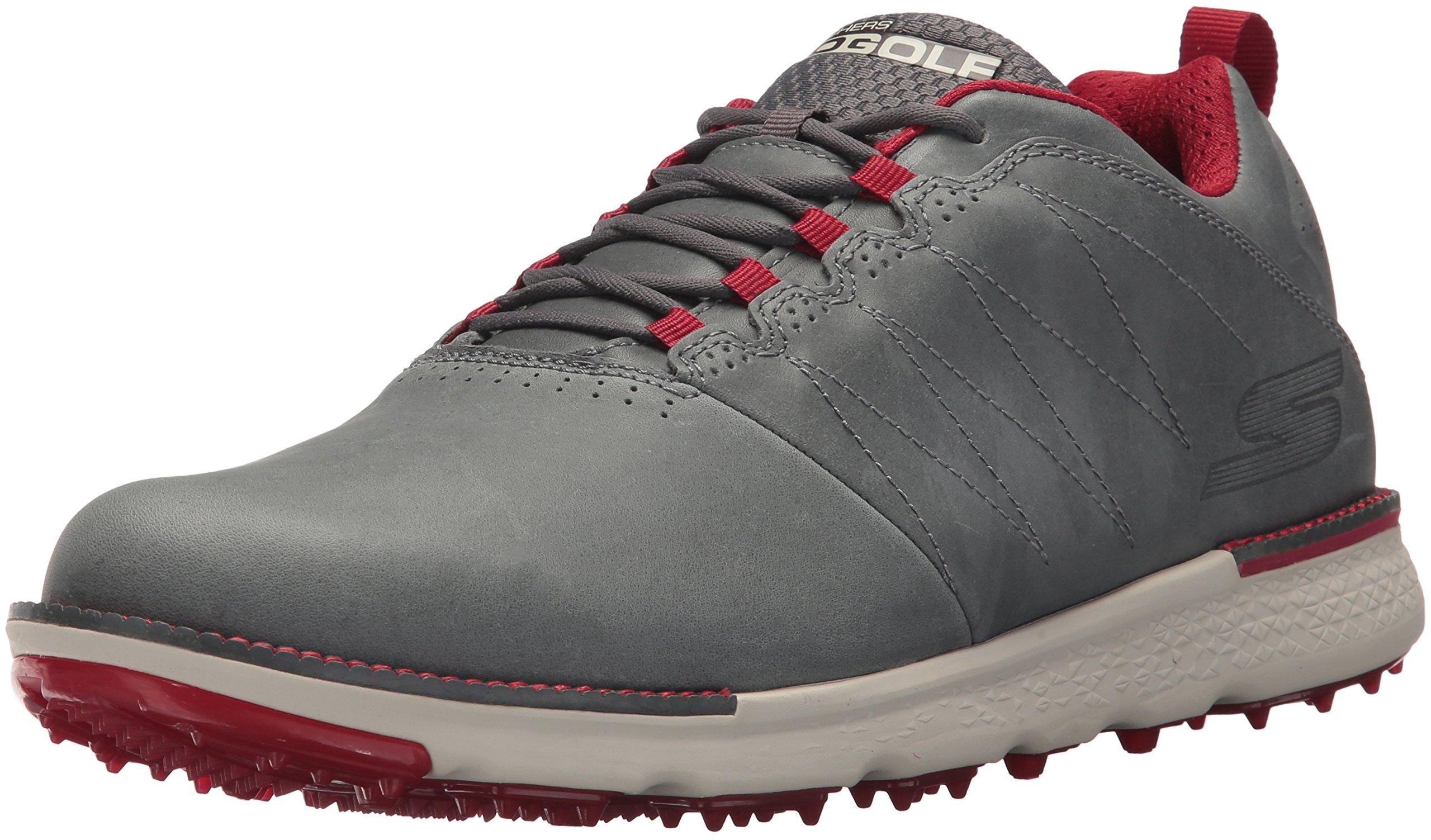 Skechers Men's Go Elite 3 LX Wide Golf Shoe,charcoal/red,7.5 W US