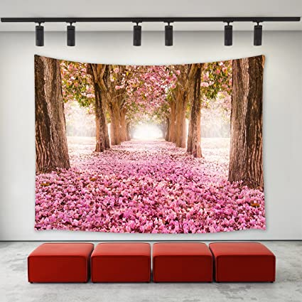 Lbkt Spring Season Pink Cherry Blossom Trees Fallen Flowers Deep Long Path Road Picture Print Tapestry Wall Hanging For Bedroom Living Room College