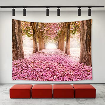 Amazon.com: LBKT Pink Cherry Blossom Trees Tapestry Wall Hanging ...