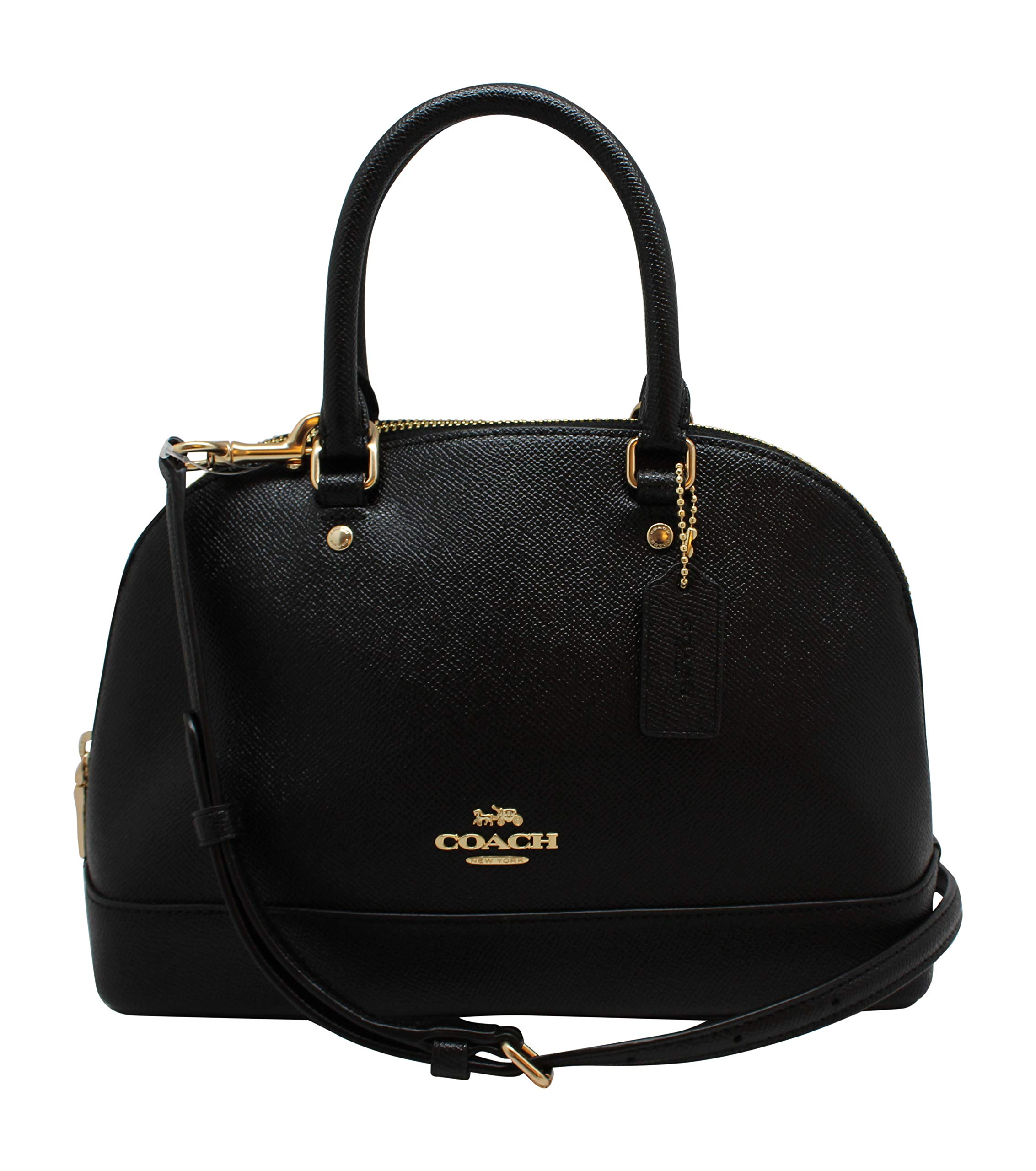 Coach Womens Mini Sierra Satchel Handbag, Crossgrain Leather, Detachable Crossbody Strap (Mini, Black)