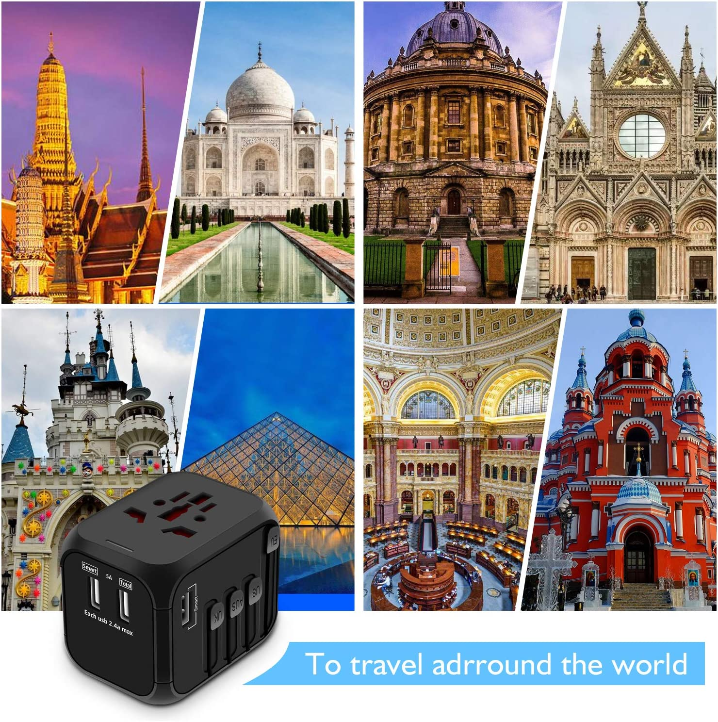 AU Asia Covers 150+Countries EU European Adapter Travel Power Adapter Wall Charger for UK All-in-one International Power Adapter with 4 USB Ports Upgraded Universal Travel Adapter
