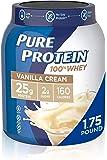 Whey Protein Powder by Pure Protein, Gluten Free, Vanilla Cream, 1.75lbs