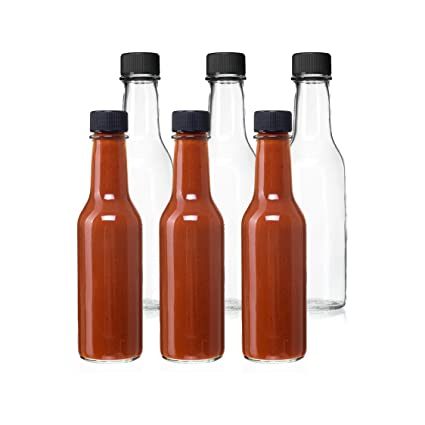 12 Pack   5 Oz Empty Clear Glass Hot Sauce Bottles With Black Caps And Drip