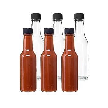 5 oz Salsa Caliente de cristal transparente vacío botellas con tapones de color negro y dispensador de goteo Tops, por California casa mercancías: ...