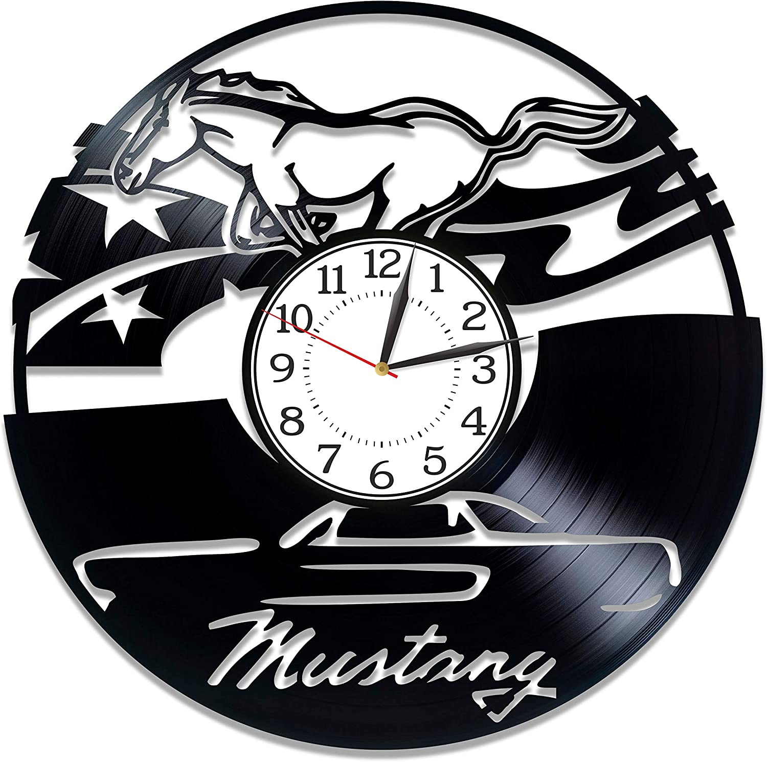 Kovides Birthday Gift Idea Ford Mustang Car Wall Clock 12 Inch for Man and Woman Speed Car Original Home Decor Ford Mustang Vinyl Record Wall Clock Sport Car Handmade Products