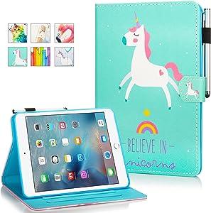 iPad 9.7 inch 2018/2017 Case,iPad Air/Air 2 Case, Funut PU Leather Folio Smart Wallet Case with Wake Sleep Magnetic Closure with Card Slot Kickstand for Apple iPad 6th 5th Generation,Unicorn Blue