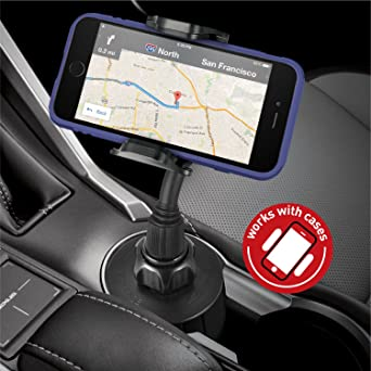Macally Car Cup Holder Phone Mount with Longer Neck and 360 Rotatable Cradle for iPhone X XS Max XR 8 Plus 7 7Plus 6s 6 Se, Samsung Galaxy S8 S7 Edge S6 Note 5, Smartphones, GPS etc.(MCUPXL)