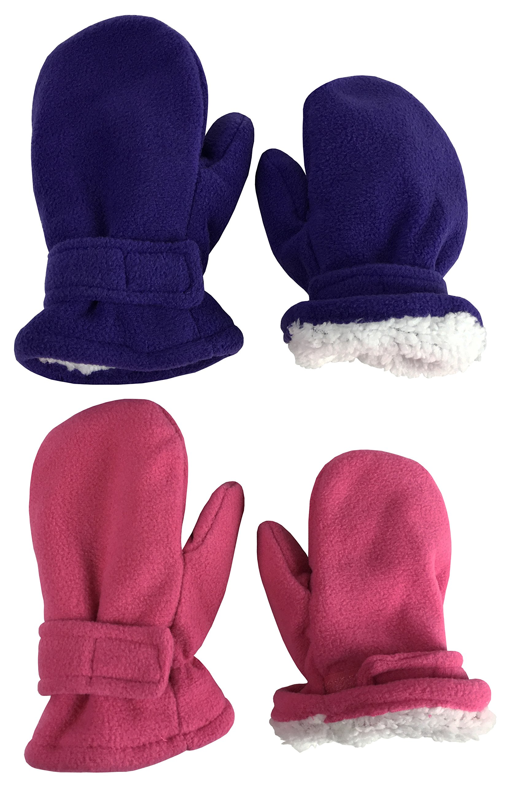N'Ice Caps Little Kids and Baby Easy-On Sherpa Lined Fleece Mittens - 2 Pair Pack (4-6 Years, Purple/Fuchsia Pack)