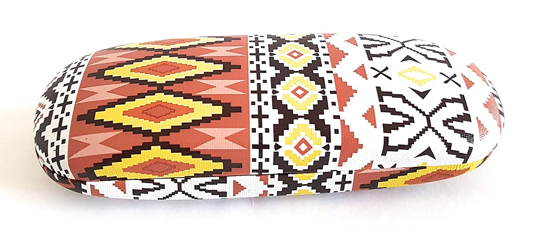 Hard Protective Clam Shell Eyeglass Case Aztec Ethnic Pattern Design Medium Size