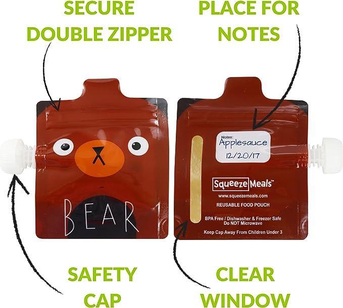 Sans BPA Lot De 6 Gourdes Compotes et Smoothie Maison Squeeze Meals Poche Alimentaire R/éutilisable pour B/éb/é pour Pur/ée Zoo Animals