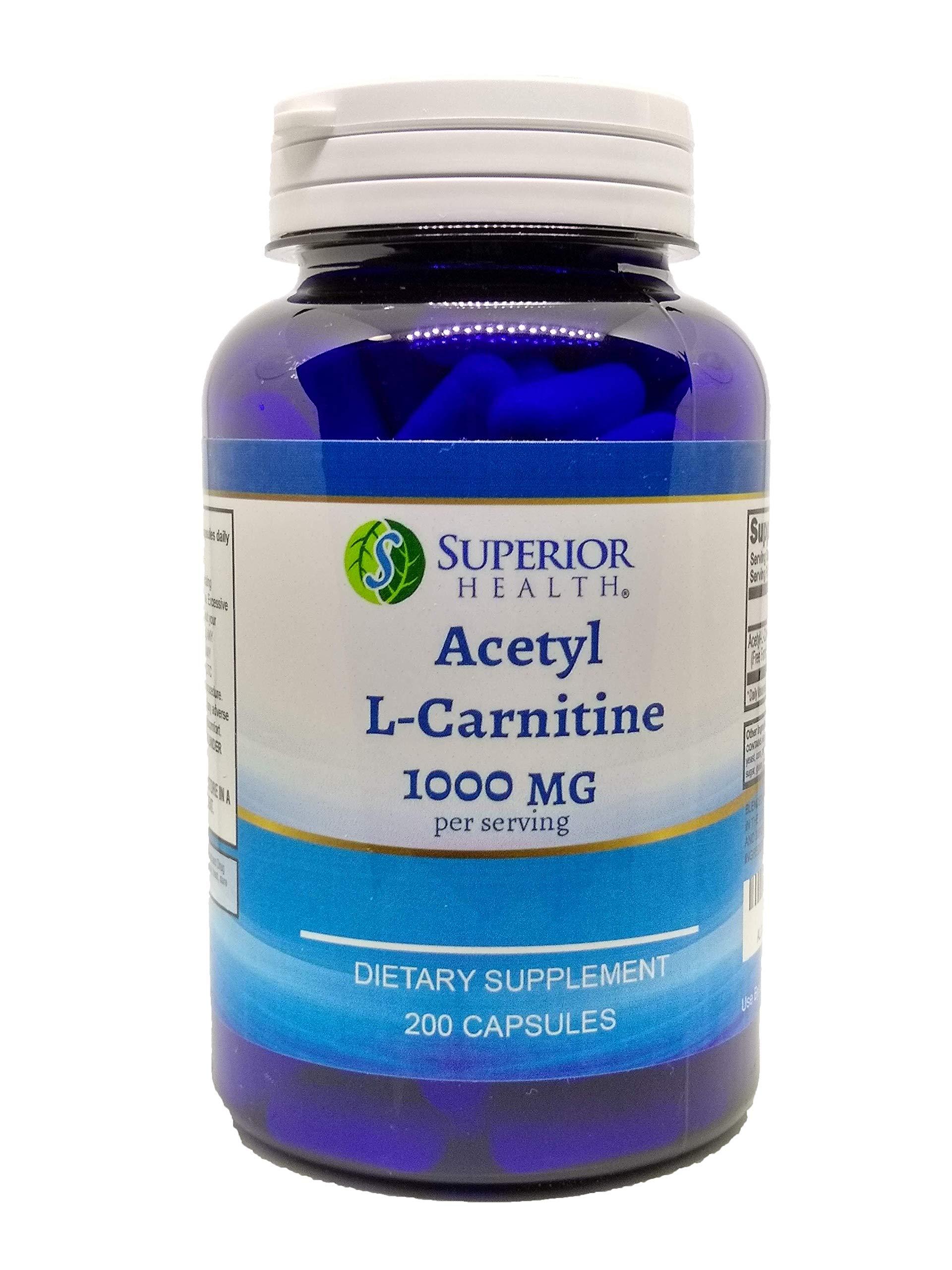 Acetyl L-Carnitine Supplement 1000mg per Serving 200 Capsules (ALCAR)