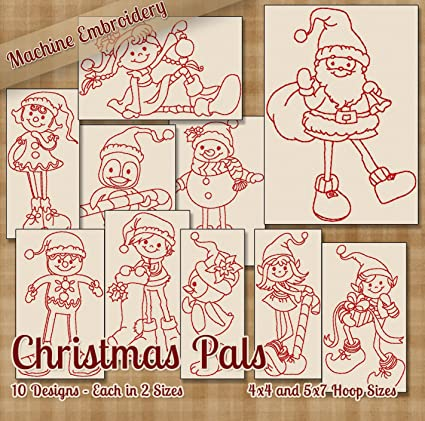 Amazon Christmas Pals Redwork Embroidery Machine Designs On Cd