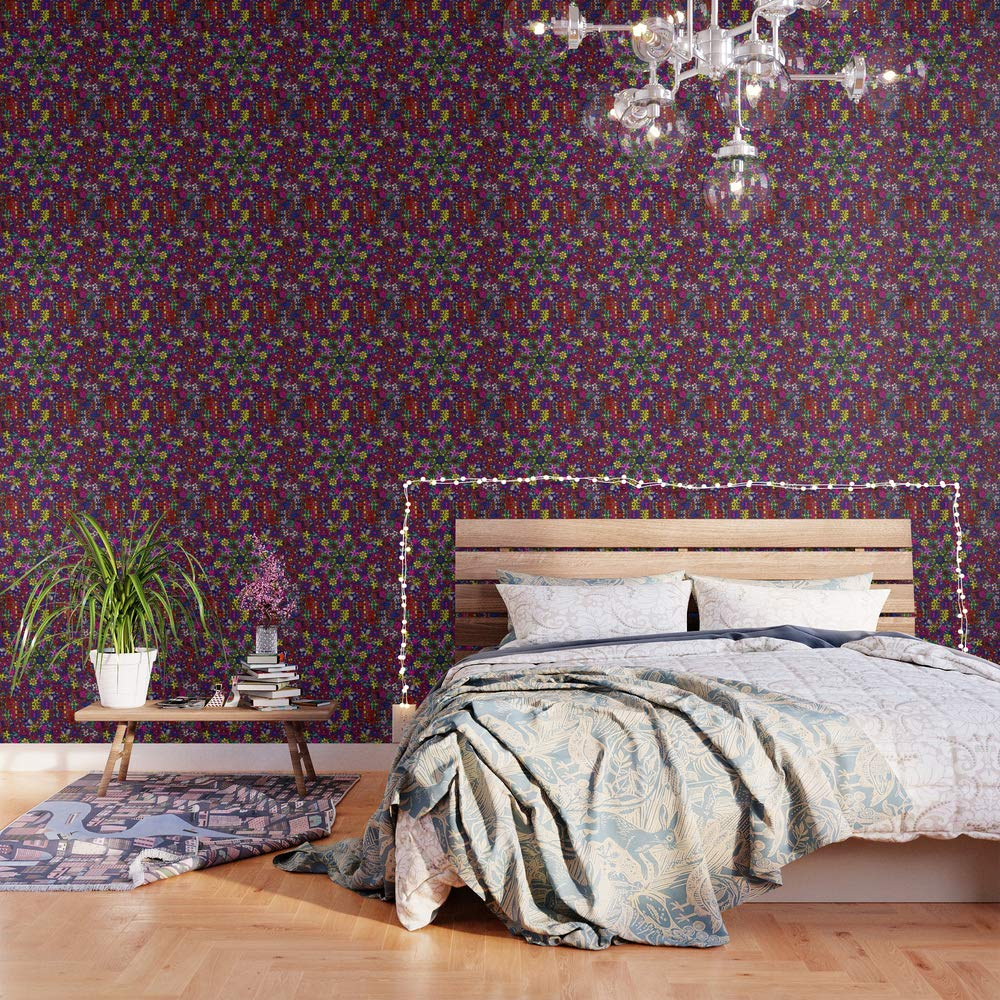 Society6 Wallpaper, 2' X 8', Flower Power Doodle Art by gx9designs