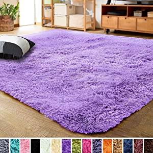 LOCHAS Ultra Soft Indoor Modern Area Rugs Fluffy Living Room Carpets for Children Bedroom Home Decor Nursery Rug 5.3x7.5 Feet, Purple