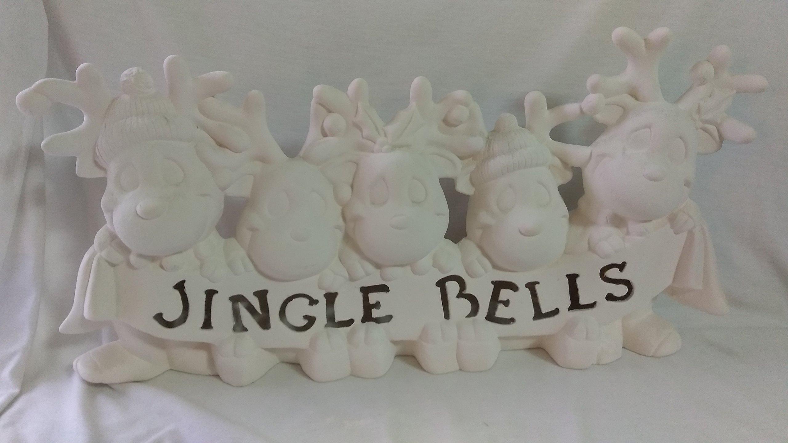 Jingle Bells Reindeer 18'' Ceramic Bisque with clip light