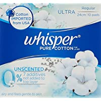 Whisper Pure Cotton Unscented Regular, 10 count