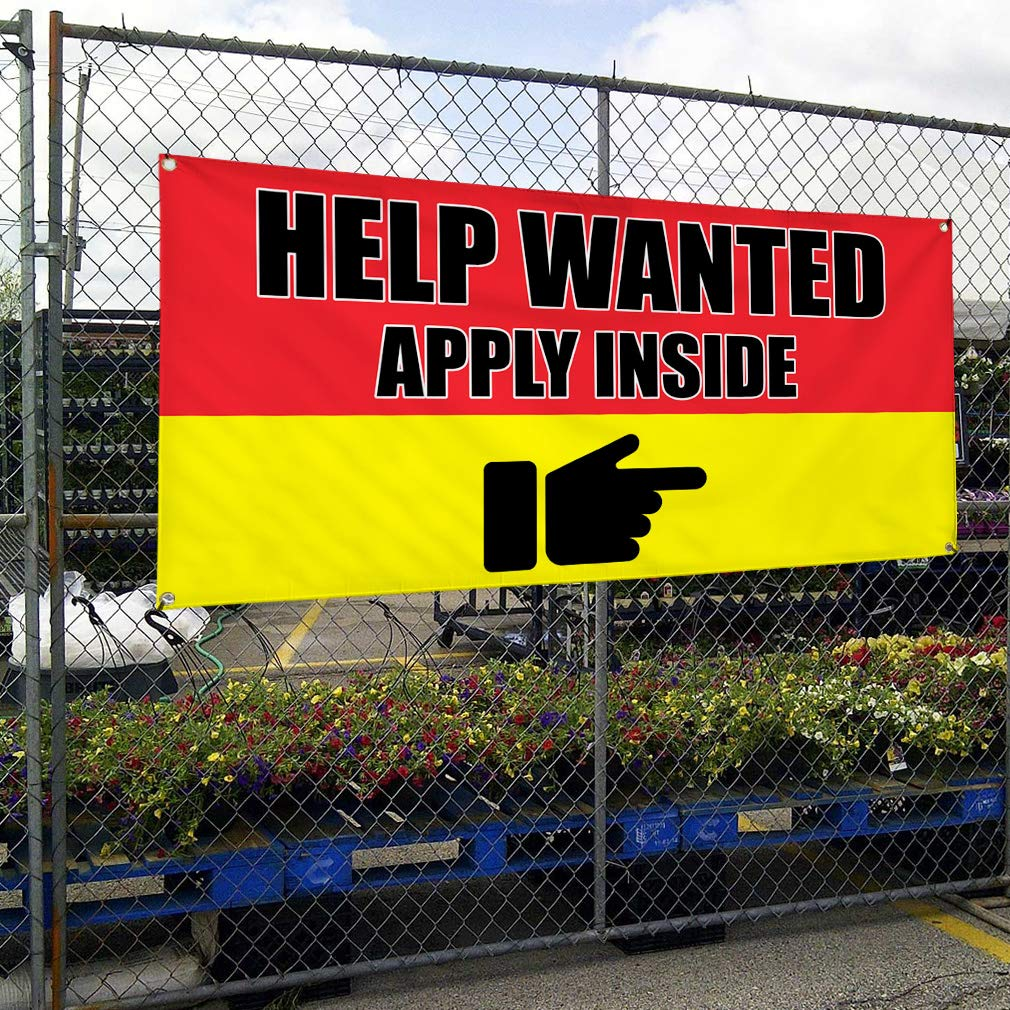 HELP WANTED Promotion Business Sign Banner 3/' x 6/' w// 6 Grommets