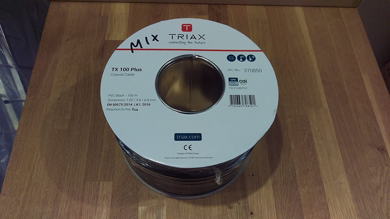 100m Triax TX100 Plus Black PVC Coaxial Cable: Amazon.co.uk: Electronics