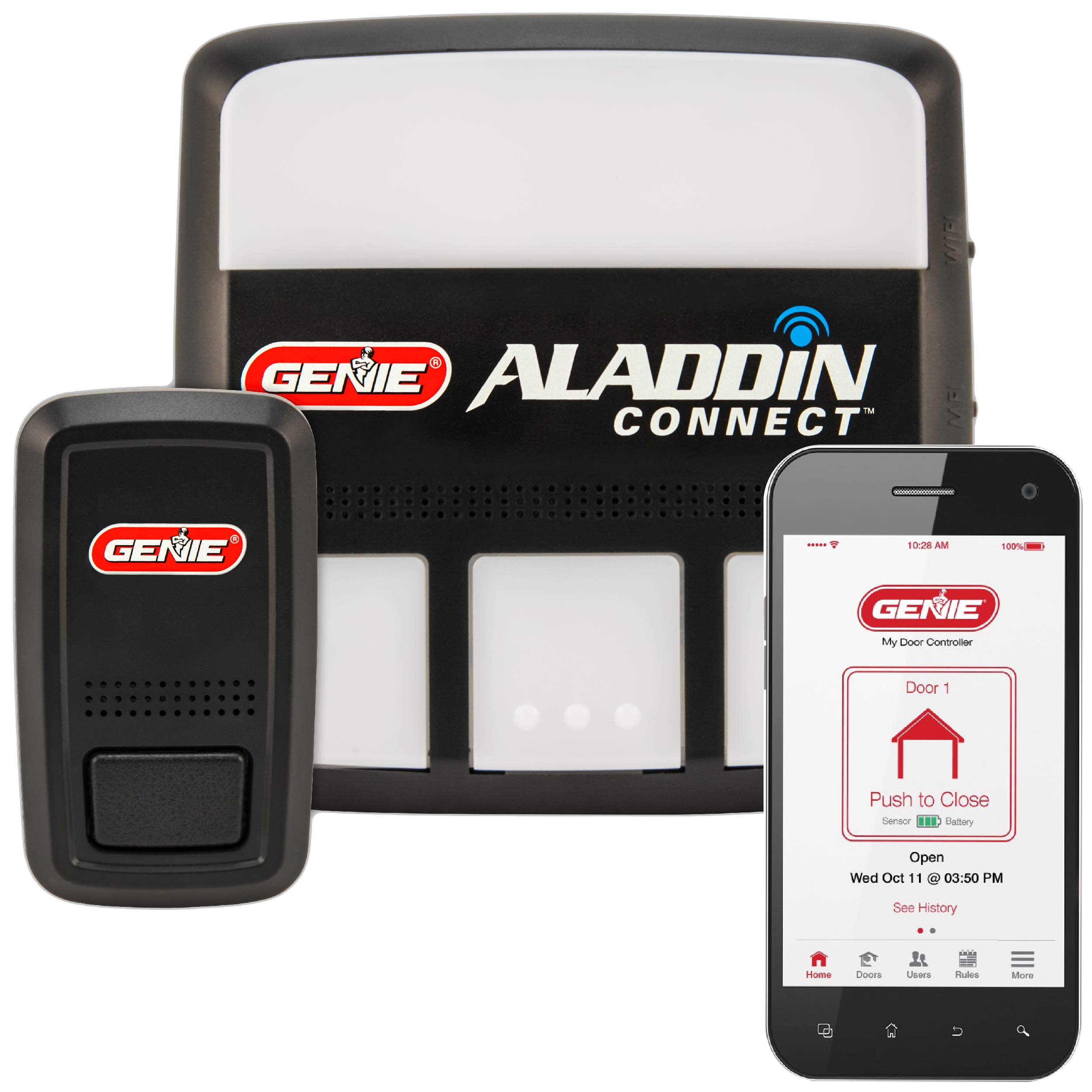 Genie Aladdin Connect - Smart Garage Door Opener - Compatible with Amazon Alexa and Google Assistant - Monitor, Open and Close from Anywhere with Smartphone (iPhone or Android),  (Item Ships in Box) by Genie
