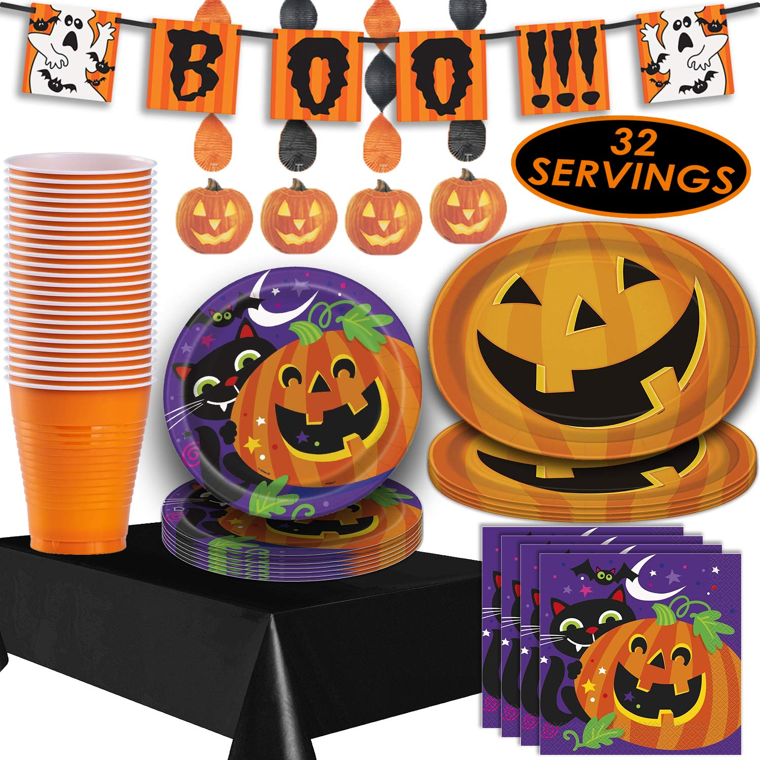 Halloween Tableware and Decorations - 32 Guest - Dinner Plates, Party Cups, Napkins, Tablecloths, Serving Trays, Pumpkin Hanging Swirls, 4 Foot''BOO!!!'' Banner by HeroFiber