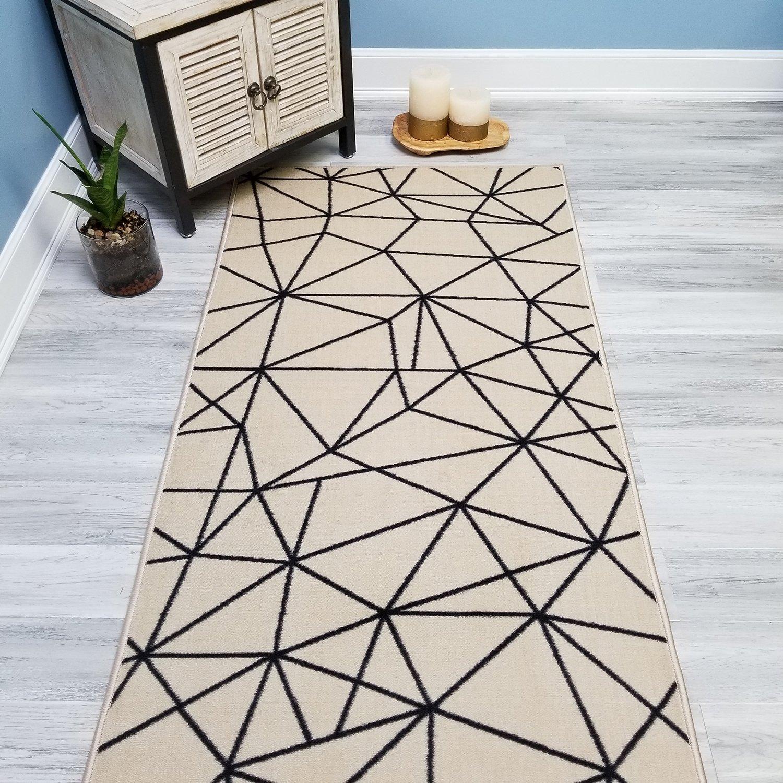 Your Choice Length Ivory & Black Mosaic Tiles Non-Slip Rubber Backed Carpet Runner Rug | 22-inch x 8-feet