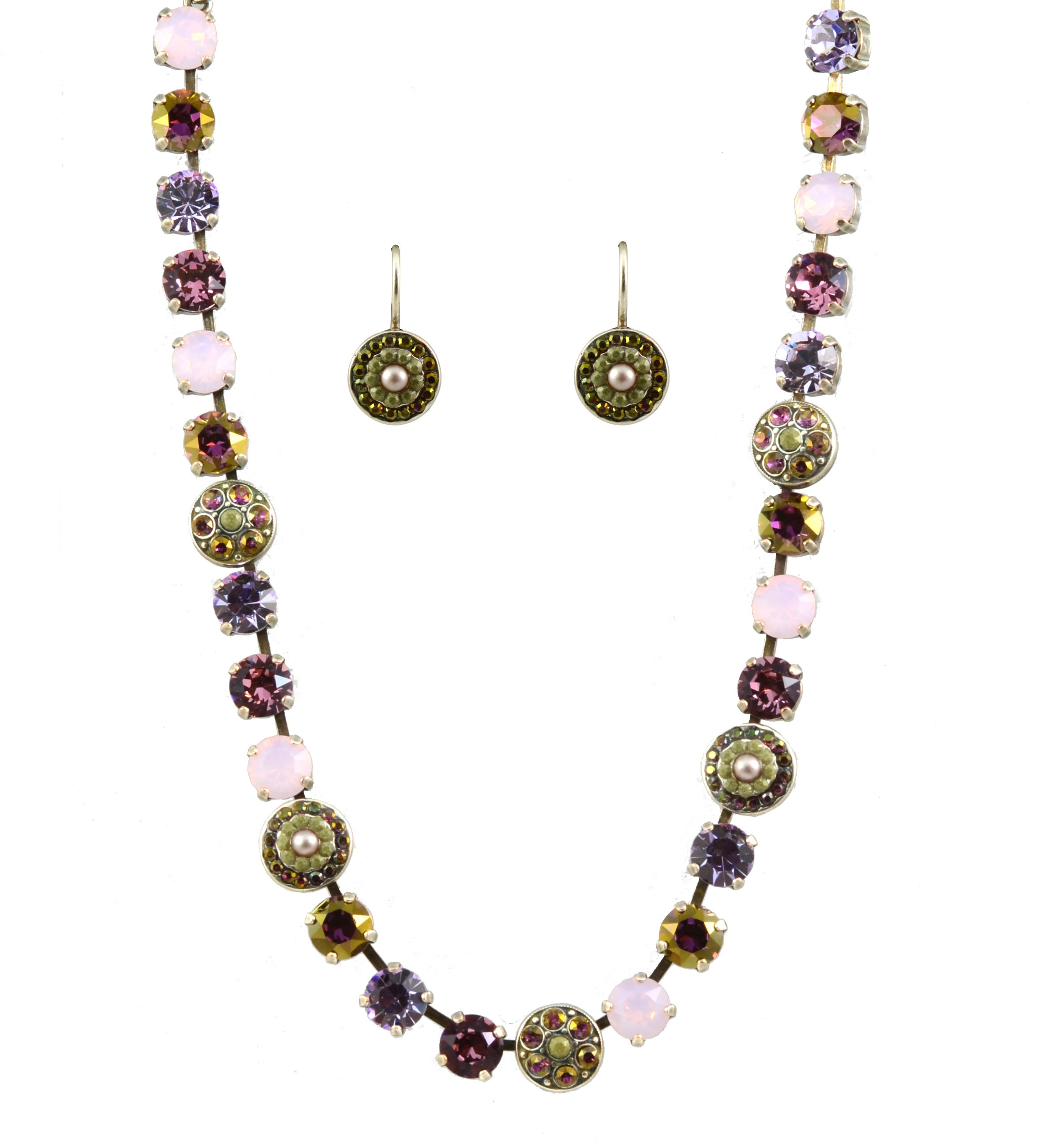 Mariana ''Elizabeth'' Necklace and Earrings Set With Silver Plated Circle Crystal