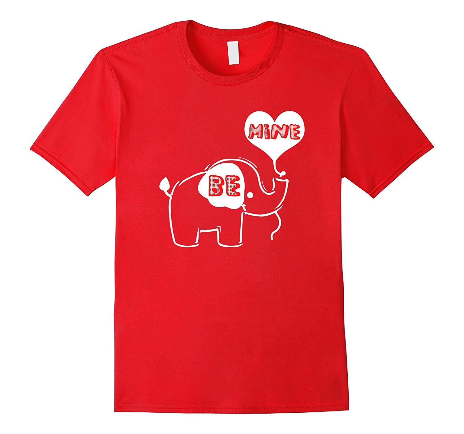 Cute Valentines Day Girls and Boys Be Mine Elephant T-Shirt-CL