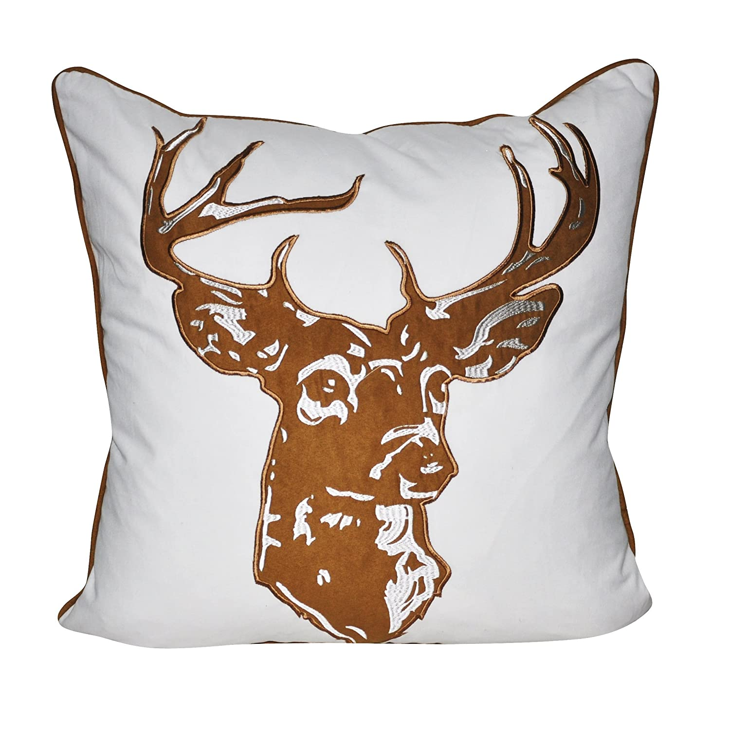 Loom and Mill Brown Stag Deer Decorative Plush and Fluffy Accent Decor Throw Pillow, 22' x 22',  Brown/White