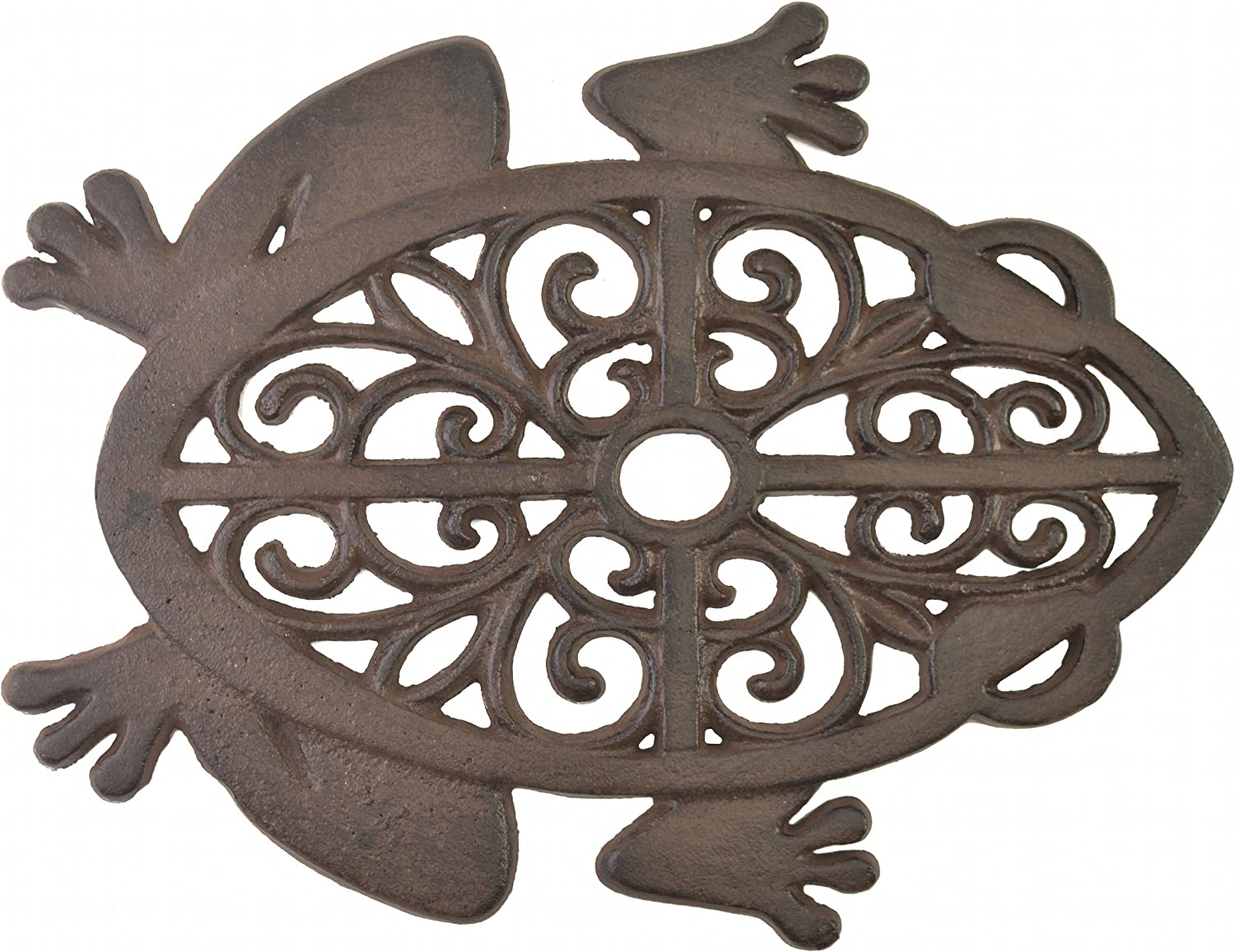 Import Wholesales Decorative Stepping Stone Cutout Frog Cast Iron Yard & Garden Flagstone Rust Brown